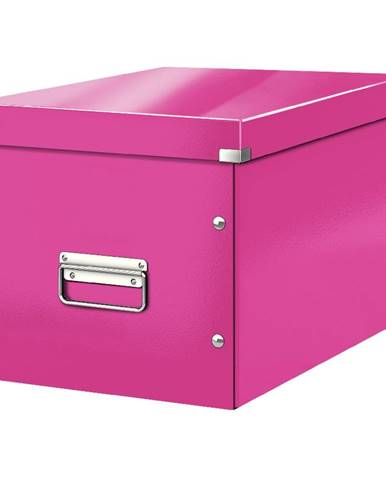 Růžová úložná krabice Leitz Office, délka 36 cm