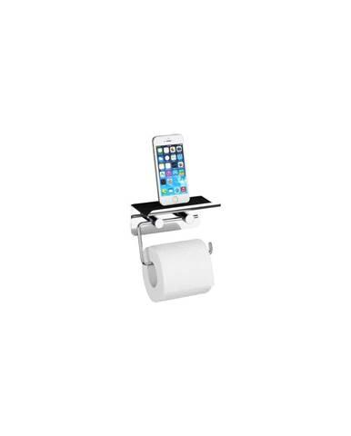 Samodržící držák na toaletní papír se stojanem na telefon Wenko