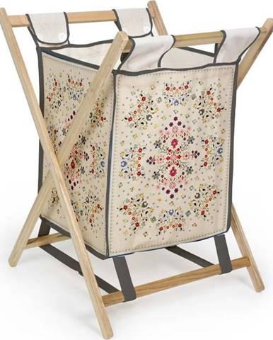 Úložný koš s konstrukcí z borovicového dřeva Madre Selva Flowers Tapestry, 60l