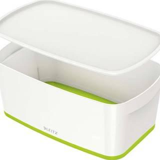 Bílo-zelený úložný box s víkem Leitz Office, objem 5 l