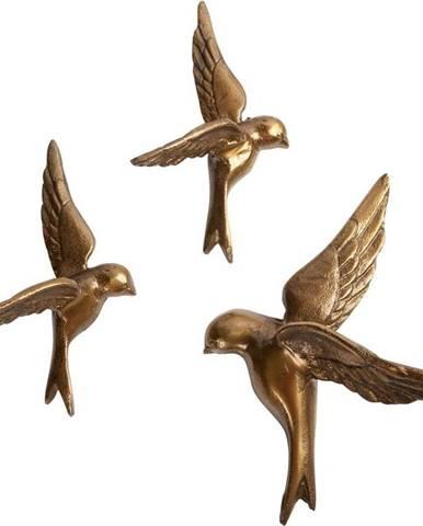 Sada 3dekorativních mosazných nástěnných ptáčků BePureHome