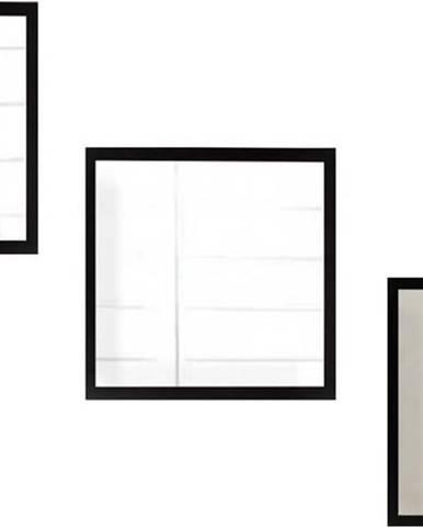 Sada 3 nástěnných zrcadel s černým rámem Oyo Concept Setayna,24x24cm