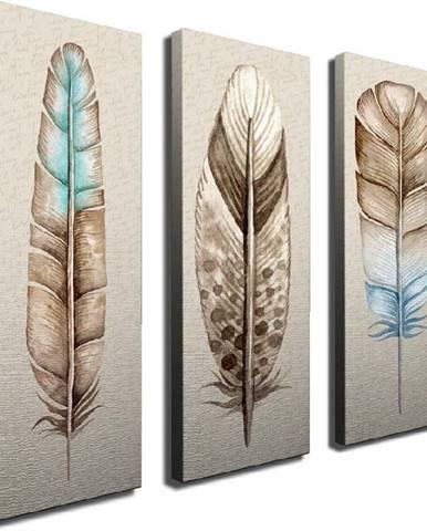 3dílný obraz na plátně Feathers