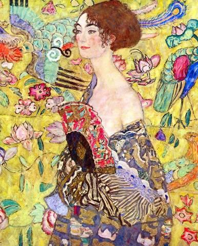 Reprodukce obrazu Gustav Klimt - Lady With Fan, 50x50cm