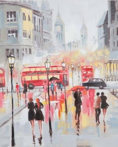 Ručně malovaný obraz v rámu z borovicového dřeva Mauro Ferretti Rain London, 100 x 100 cm