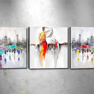 Sada 3 obrazů Tablo Center Dancing in the Rain