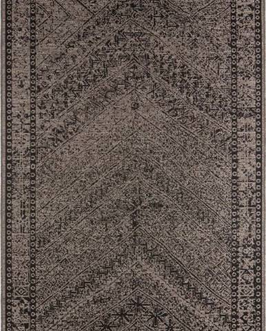 Hnědo-černý venkovní koberec Bougari Mardin, 70 x 140 cm
