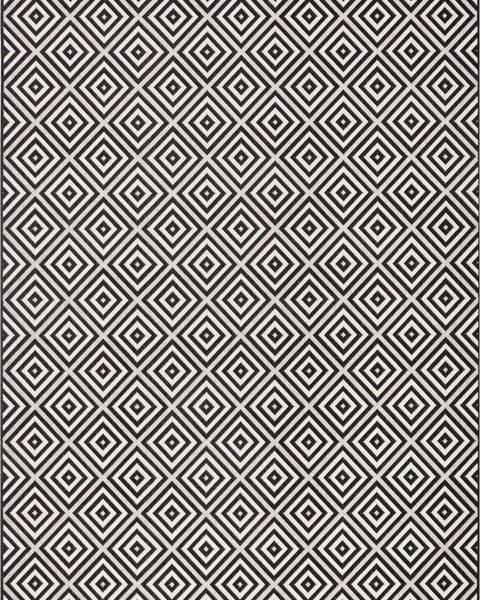 Bougari Černo-bílý venkovní koberec Bougari Karo, 160x230cm