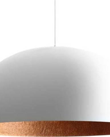 Bílé závěsné svítidlo s detailem v měděné barvě Custom Form Lord, ø 90 cm