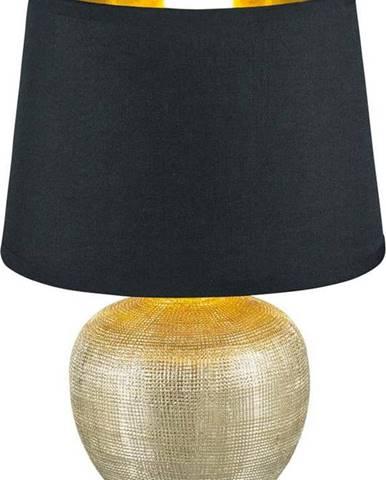 Černá stolní lampa z keramiky a tkaniny Trio Luxor, výška 26 cm