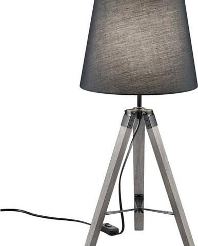Šedá stolní lampa z přírodního dřeva a tkaniny Trio Tripod, výška 57,5 cm