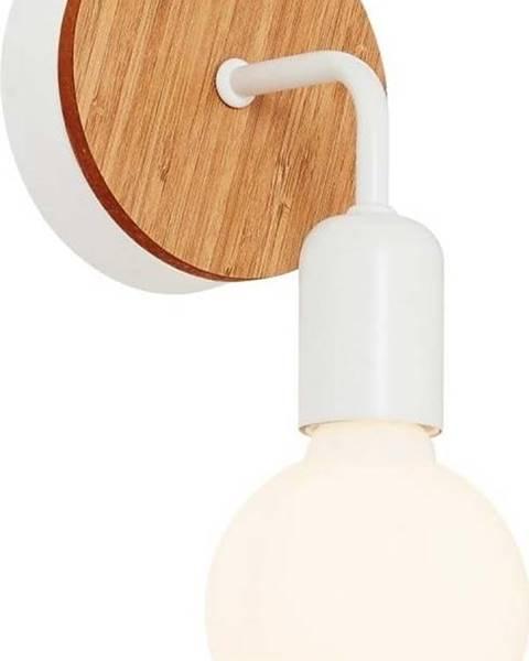 Homemania Decor Bílé nástěnné svítidlo s dřevěným detailem Homemania Decor Valetta