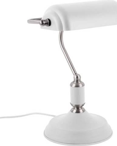 Bílá stolní lampa s detaily ve stříbrné barvě Leitmotiv Bank