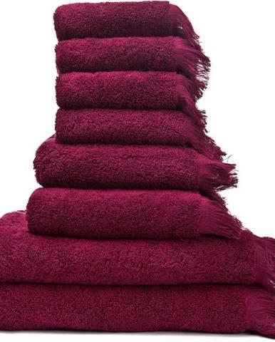 Set 6 vínových bavlněných ručníků a 2 osušek Casa Di Bassi Bath