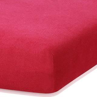 Bordó červené elastické prostěradlo s vysokým podílem bavlny AmeliaHome Ruby, 100/120 x 200 cm