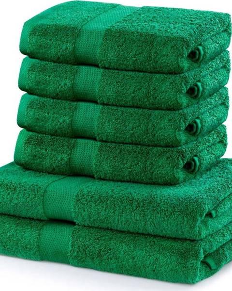 DecoKing Set 2 bavlněných zelených osušek a 4 ručníků DecoKing Marina