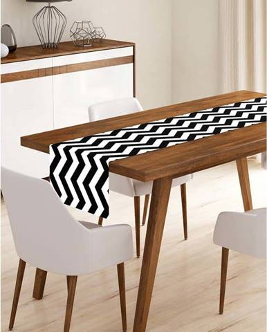 Běhoun na stůl z mikrovlákna Minimalist Cushion Covers Black Stripes, 45x140cm