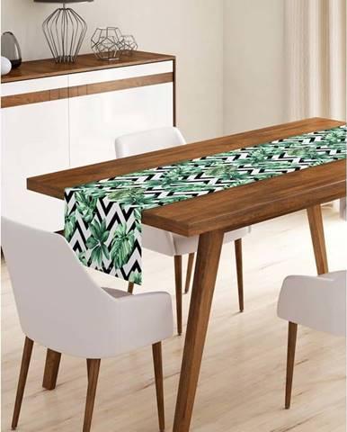 Běhoun na stůl z mikrovlákna Minimalist Cushion Covers Jungle Leaves Stripes, 45x140cm