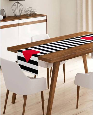 Běhoun na stůl z mikrovlákna Minimalist Cushion Covers Stripes with Red Heart, 45x140cm