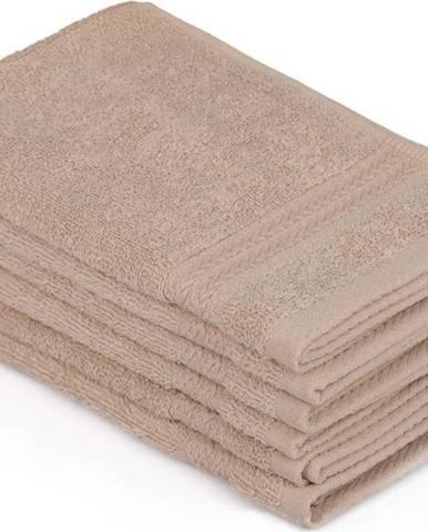 Sada 6 béžových ručníků do koupelny, 50 x 30 cm