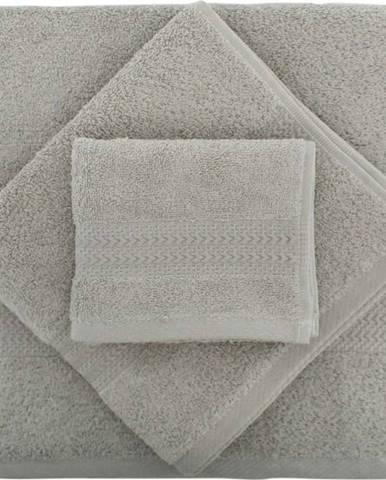 Set 2 šedých bavlněných ručníků a osušky ze 100% bavlny Rainbow Gris