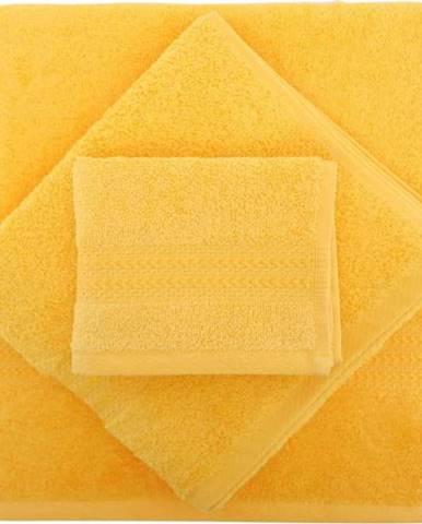 Set 2 žlutých bavlněných ručníků a osušky Rainbow