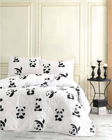 Set přehozu a 2 povlaků na polštáře EnLora Home Panda, 200 x 220 cm