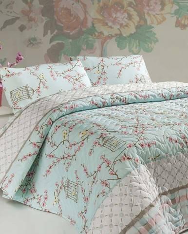 Set přehozu na dvoulůžko a 2 povlaků na polštář s příměsí bavlny Birdcage,200x220cm
