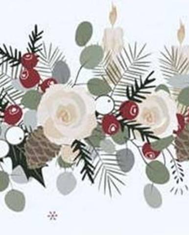Bavlněný běhoun s vánočním motivem Butter Kings Fir Branches,140x40cm