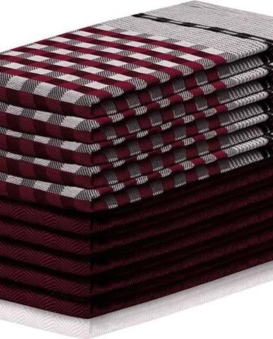 Sada 10 vínovo-černých bavlněných utěrek DecoKing Louie, 50 x 70 cm