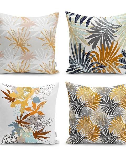 Minimalist Cushion Covers Sada 4 dekorativních povlaků na polštáře Minimalist Cushion Covers Autumn Leaves,45x45cm