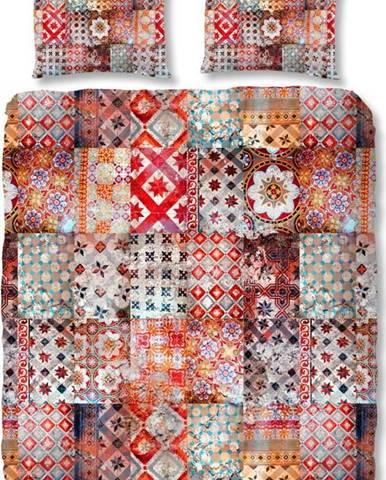Červené povlečení z bavlněného saténu Ernesto, 200 x 200 cm