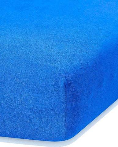 Modré elastické prostěradlo s vysokým podílem bavlny AmeliaHome Ruby, 120/140 x 200 cm