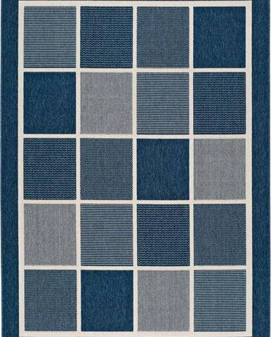 Modrý venkovní koberec Universal Nicol Squares, 140 x 200 cm