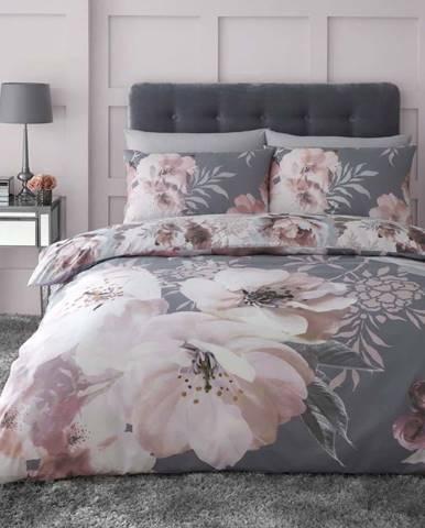 Šedé povlečení Catherine Lansfield Dramatic Floral, 135 x 200 cm