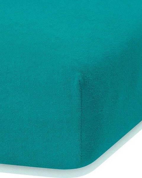AmeliaHome Tmavě zelené elastické prostěradlo s vysokým podílem bavlny AmeliaHome Ruby, 120/140 x 200 cm