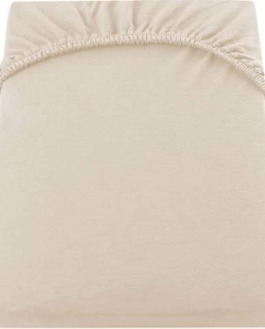 Béžové elastické džersejové prostěradlo DecoKing Amber Collection, 160/180 x 200 cm