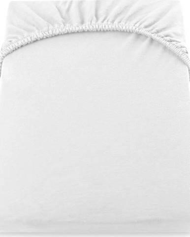 Bílé elastické džersejové prostěradlo DecoKing Amber Collection, 80/90 x 200 cm