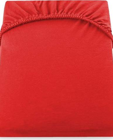 Červené elastické džersejové prostěradlo DecoKing Amber Collection, 180/200 x 200 cm