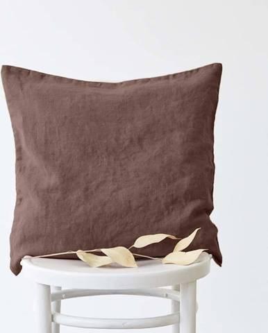 Hnědý lněný povlak na polštář Linen Tales, 45x45cm