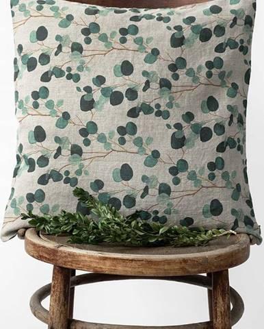 Lněný povlak na polštář Linen Tales Natural Eucalyptus, 45x45cm