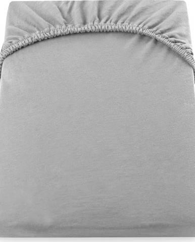 Ocelově šedé elastické džersejové prostěradlo DecoKing Amber Collection, 160/180 x 200 cm
