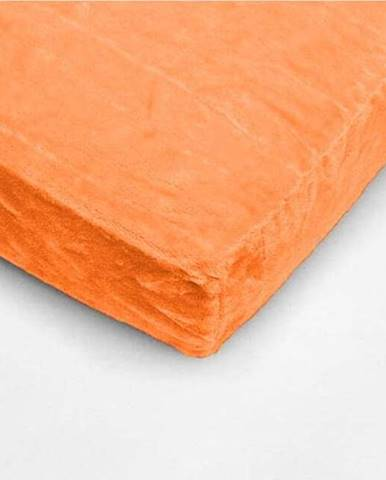 Oranžové mikroplyšové prostěradlo My House, 180 x 200 cm