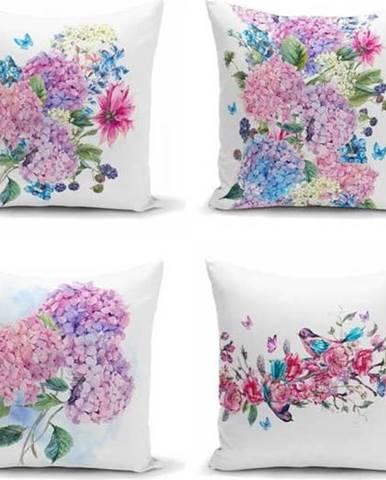 Sada 4 dekorativních povlaků na polštáře Minimalist Cushion Covers Purple Pink,45x45cm