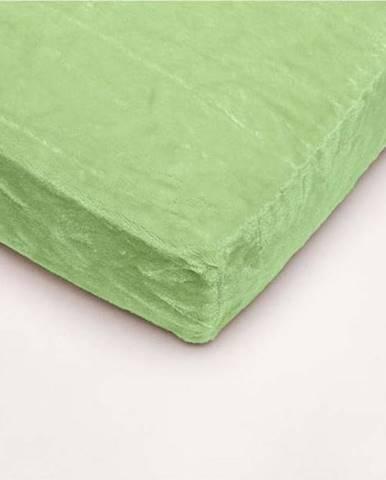 Zelené mikroplyšové prostěradlo My House, 180 x 200 cm