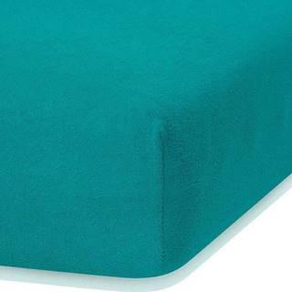 Tmavě zelené elastické prostěradlo s vysokým podílem bavlny AmeliaHome Ruby, 120/140 x 200 cm