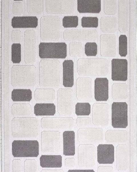 Vitaus Béžový bavlněný koberec Vitaus Mozaik, 80x200cm