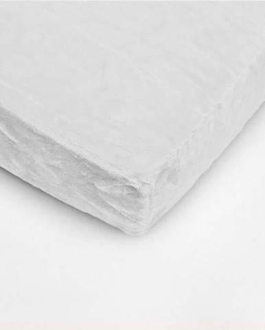 Bílé mikroplyšové prostěradlo My House, 90 x 200 cm
