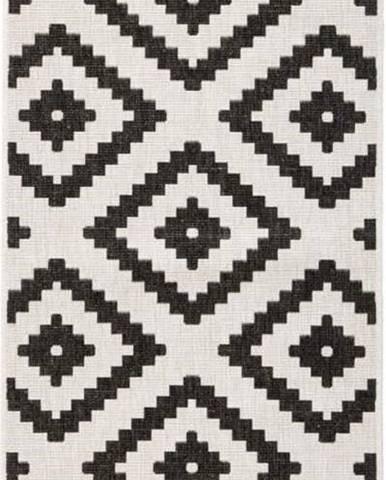 Černo-krémový venkovní koberec Bougari Malta, 80x250 cm