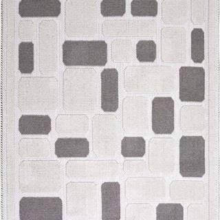 Béžový bavlněný koberec Vitaus Mozaik, 80x200cm